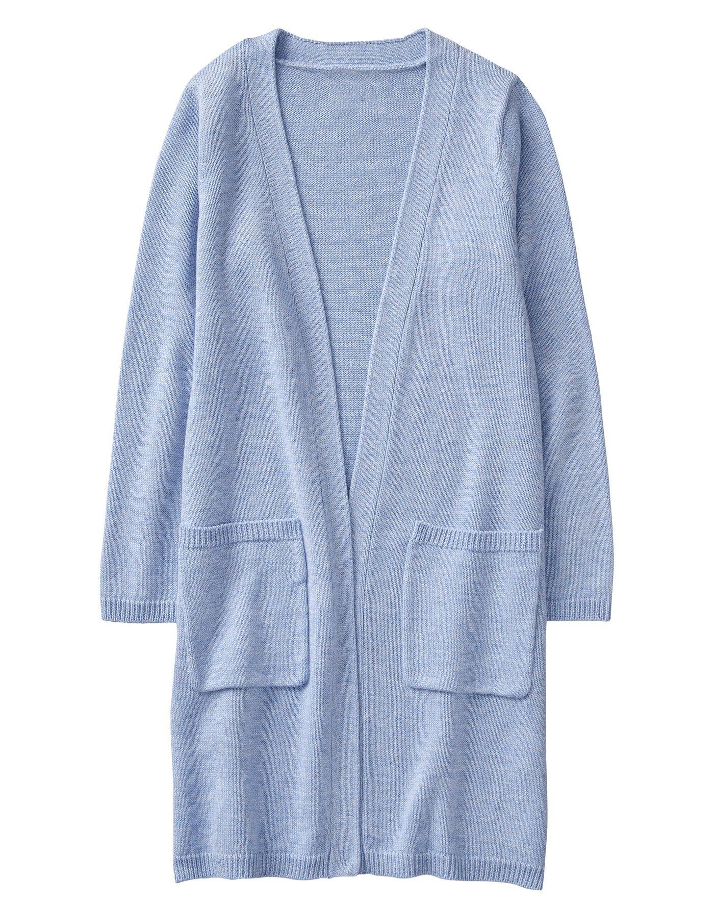 Gymboree Little Girls' Sleeve Long Cardigan, Periwinkle, XS