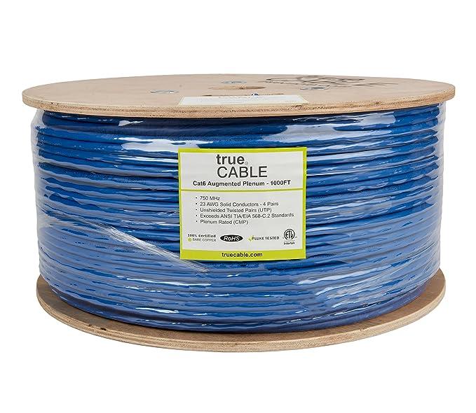 Amazon.com: Cat6A Ethernet Cable, Plenum (CMP), 1000ft Bulk, Blue ...