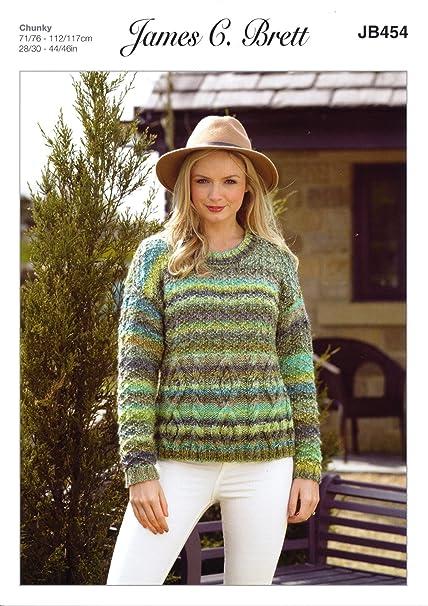 b49c32aafdfa James C Brett JB454 Knitting Pattern Womens Cable Detail Sweater in James C  Brett Marble Chunky  Amazon.co.uk  Kitchen   Home