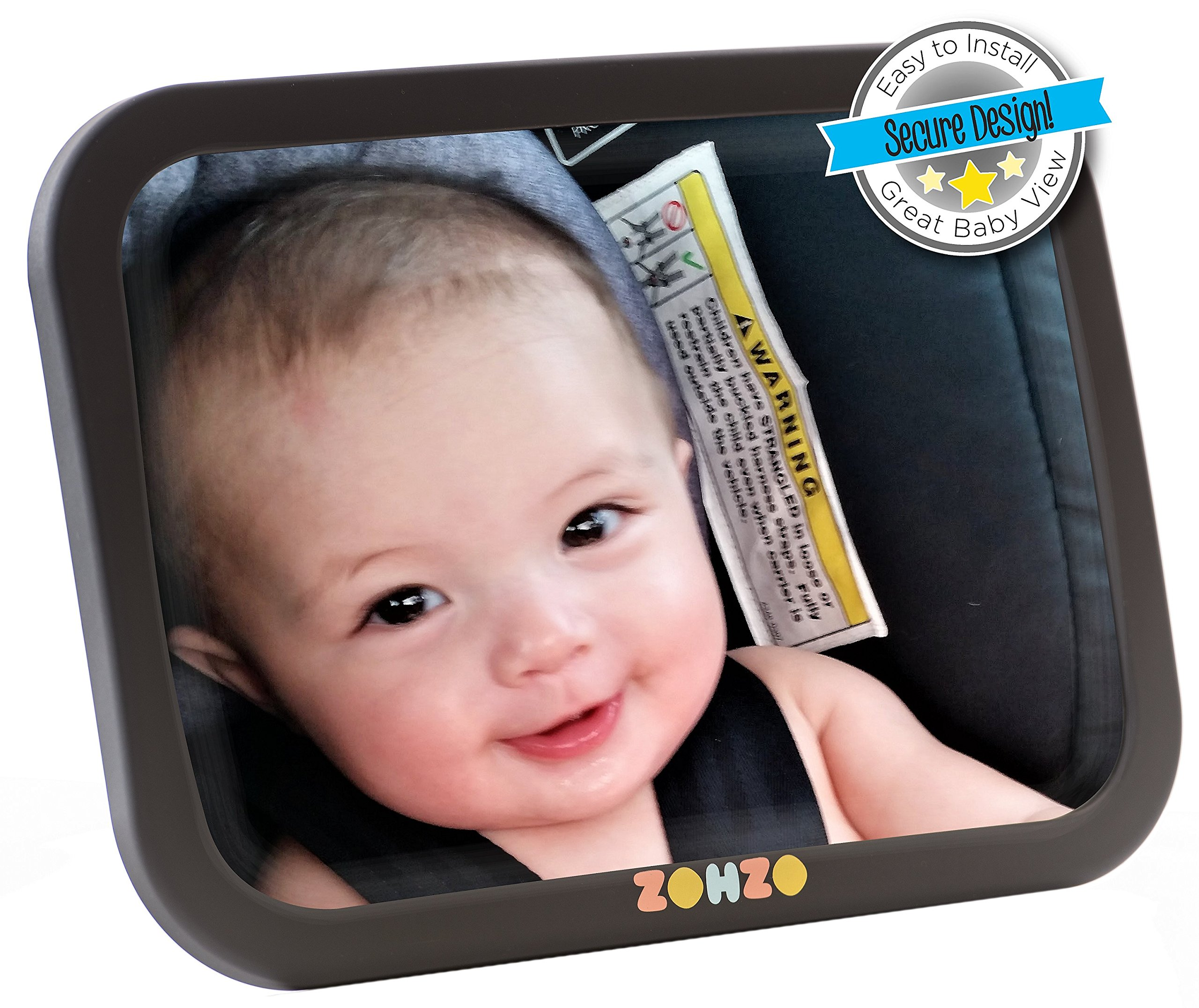 Baby Car Mirror for Back Seat | View Rear Facing Infant in Backseat | Securely Fasten With Double Strap | Pivot Joint to Easily Adjust to Desired Viewing Angle ... by Zohzo