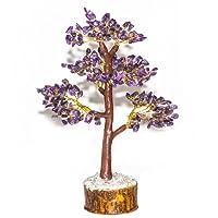 Crocon color guarigione naturale della pietra preziosa cristallo bonsai fortune Money Tree Good Luck, ricchezza e prosperità guarigione Reiki Spiritual Gift taglia 10–30,5cm (argento & Golden Wire)