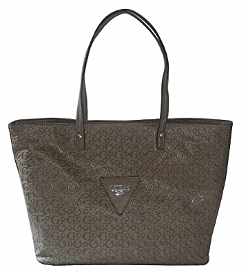 6c13288b2dde Amazon.com  GUESS Signature Embossed Liberate Tote Bag Handbag Purse Taupe   Shoes