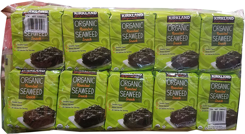 Kirkland Signature Organic Roasted Seaweed Snack Pack of 10 (0.6 Ounces each)