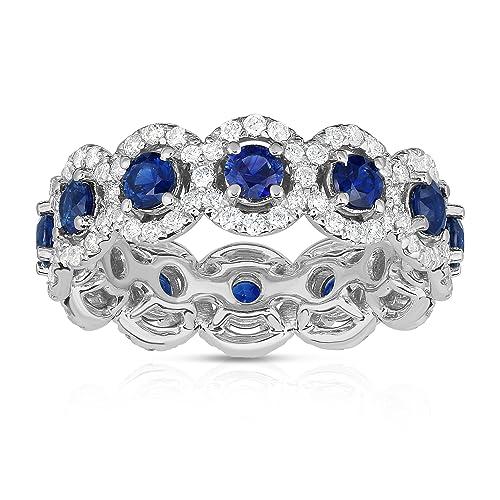Noray diseños 14 K oro blanco azul zafiro y diamantes (1,30 ct, G-H Color, SI2-I1 claridad) Eternity anillos de boda: Amazon.es: Joyería