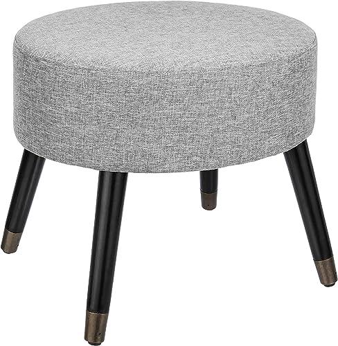 First Hill Contemporary elliptical Ottoman,Wooden Legs Gray fabric