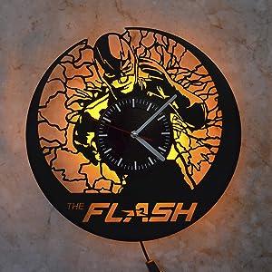 Flash Marvel Superhero Art Wall LED Light Wall Clock Gift Wall Decor Art Wall Clock Decor Vinyl Clock Modern Wall Clock Art Design The Best Gift Idea