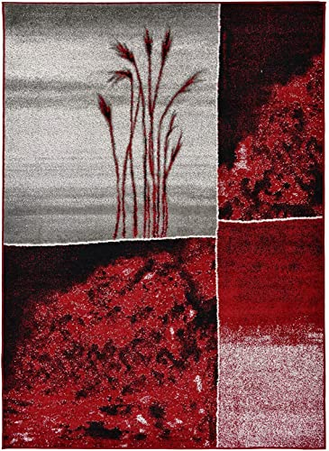 Designer Collection Wheat Nature Design Modern Contemporary Area Rug Rugs 3 Options Red, 7 10 x9 10