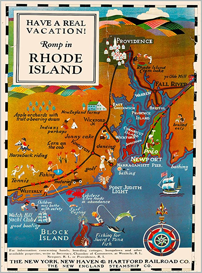 Amazon com: A SLICE IN TIME Romp in Rhode Island Map The New