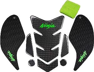 REVSOSTAR 5D Real Carbon Fiber, Motorcycle Decal Vinyl Tank Protector, Traction Side Fuel Knee Grip Decal, Brake Reservoir Sock for Ninja 250 300 2008-2018