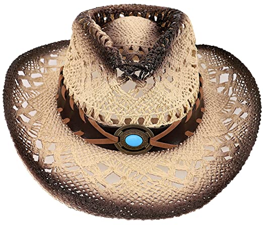AbbyLexi Straw Cowboy Cowgirl Hat Wide Brim Beach Sun Hats for Childs 27d01e42322a