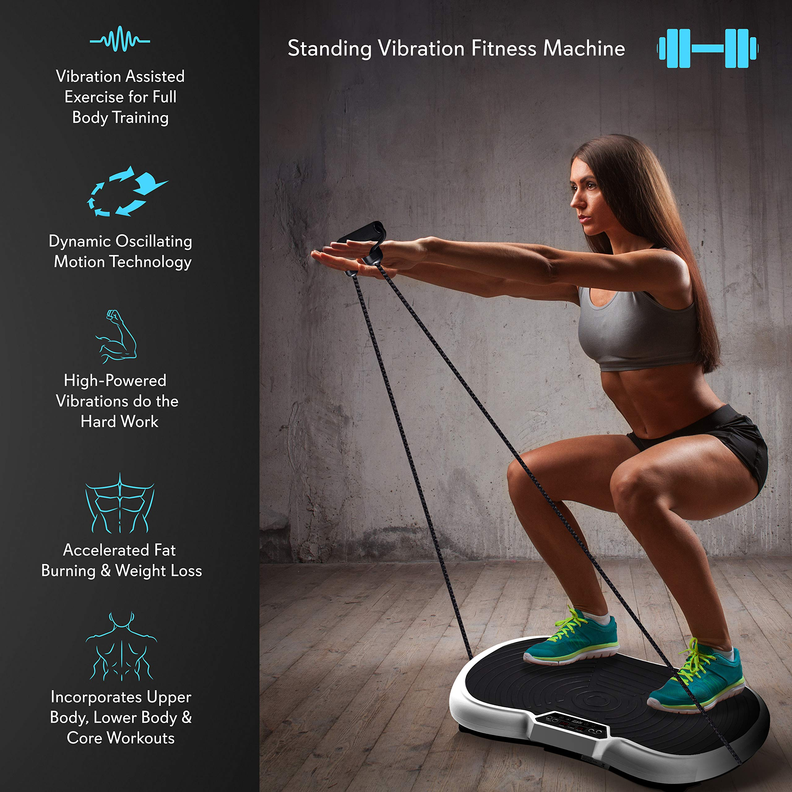 Hurtle Fitness Vibration Platform Workout Machine | Exercise Equipment For Home | Vibration Plate | Balance Your Weight Workout Equipment Includes, Remote Control & Balance Straps Included (HURVBTR30) by Hurtle (Image #3)