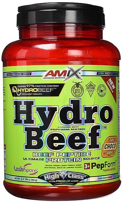 Amix Hydrobeef Peptide, Proteínas con Sabor de Cacahuete, Chocolate y Caramelo, 1000 g