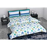 LORETO Summer Collection 186 TC Cotton Double Bedsheet with 2 Pillow Covers (Multicolour)