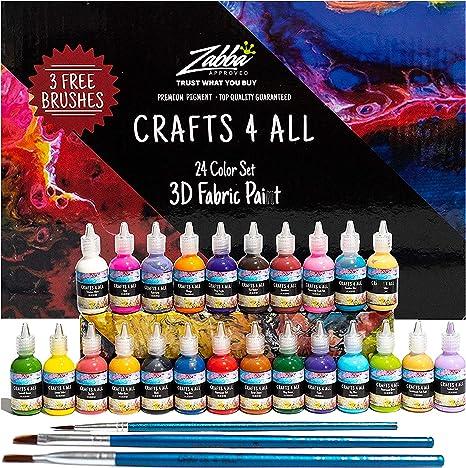 Tela de pintura 24 colores Premium calidad 3D permanente color vibrante tintes textiles para tinte, tela, madera, cerámica, vidrio por Crafts 4 ALL