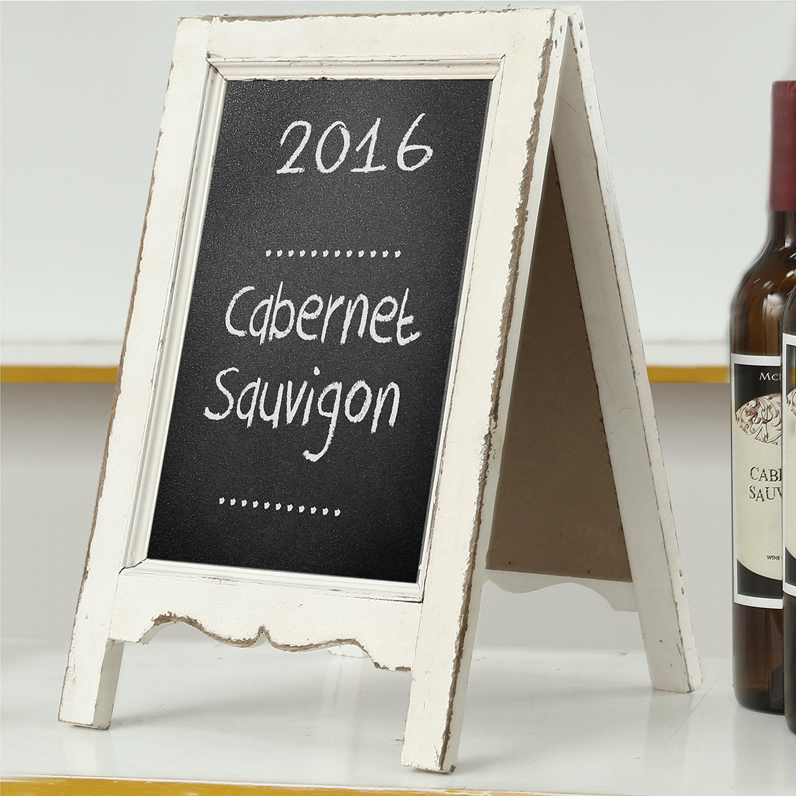 Small Wood A-Frame Double-Sided Chalkboard Sign, Whitewashed Table Top Rustic Message Board