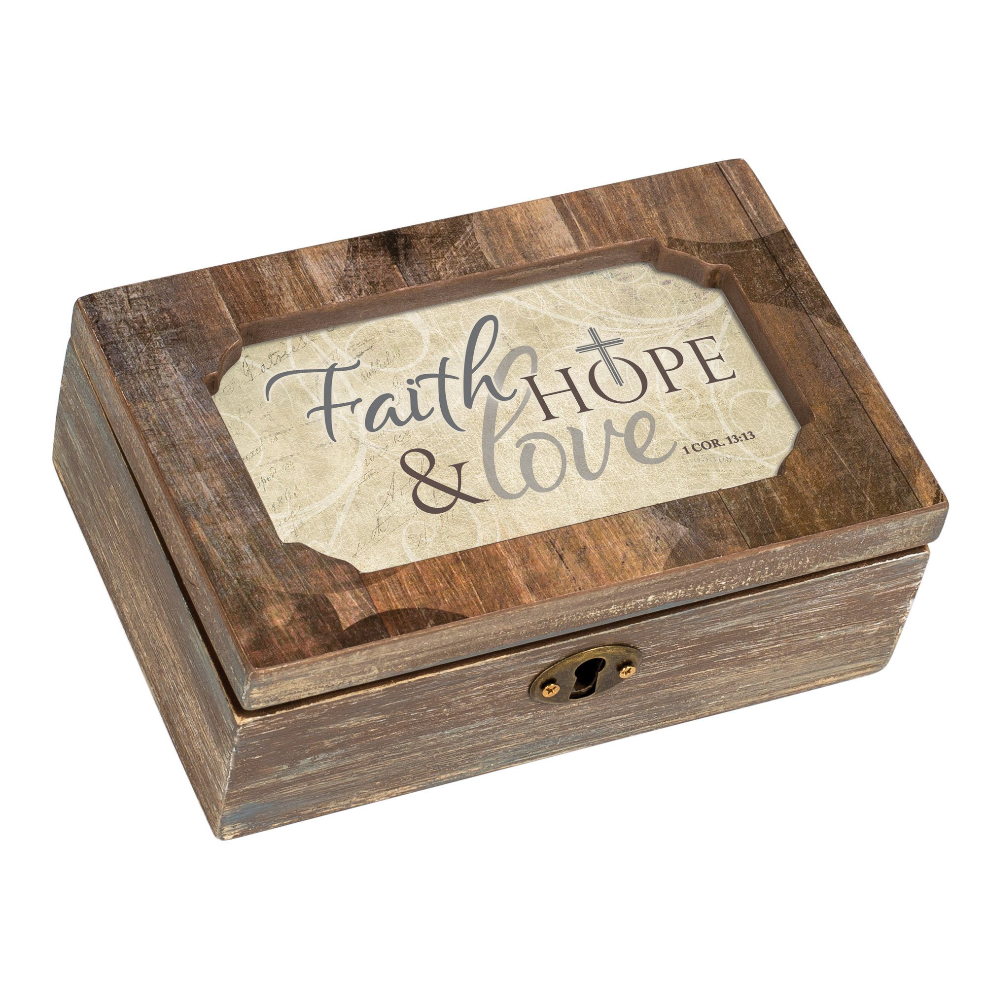 Cottage Garden Faith Hope Love Woodgrain Decoupage Petite Music Box Plays That's What Friends are for