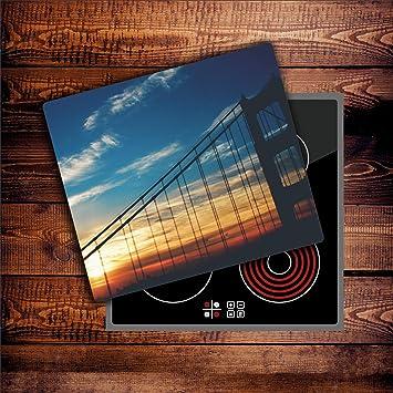 Herdabdeckplatten 60x52 cm Ceranfeld Abdeckung Glas Spritzschutz Abdeckplatte Glasplatte Herd Ceranfeldabdeckung K/üche USA CTC-Trade