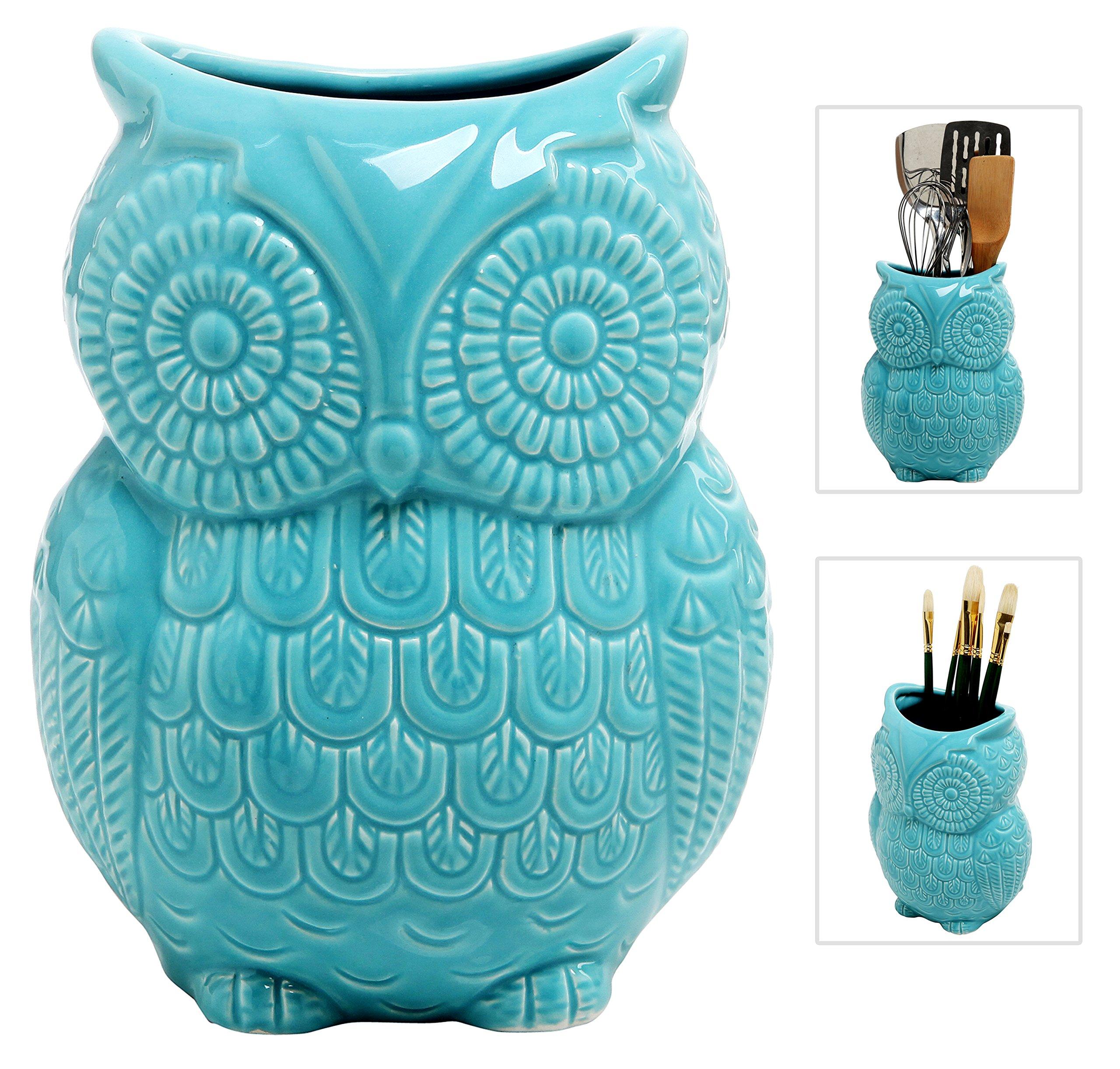 MyGift Large Owl Design Ceramic Cooking Utensil Holder, Kitchen Storage Crock, Aqua Blue by MyGift