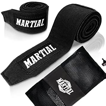 Vendajes de boxeo MARTIAL, con velcro de calidad y enganche de pulgar. Vendajes para