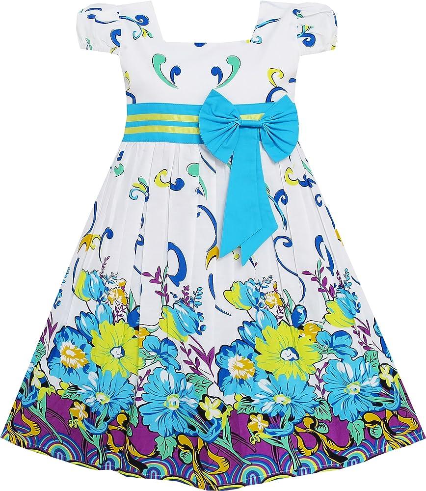 Vestido para niña Azul Flor Manga Corta Fiesta Cumpleaños ...
