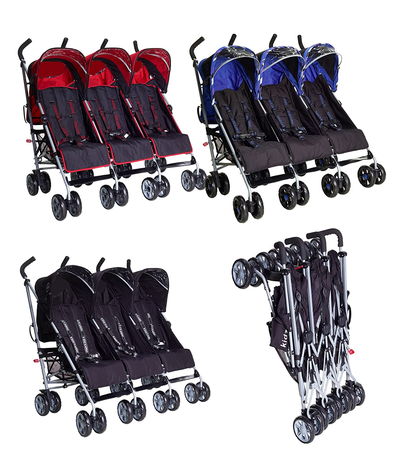 Triple buggies with 3 footmuffs stroller buggy pushchair child ...