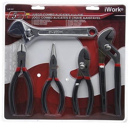 iWork L-81-307 Juego de 5 alicates y llave ajustable