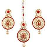I Jewels Gold Plated Earring Set with Maang Tikka for Women (TE124R)