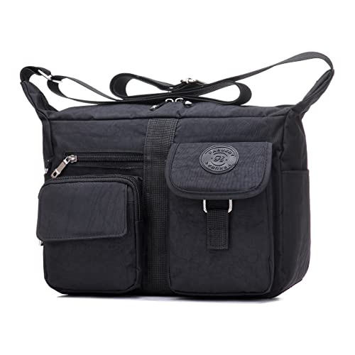 40b795e7f6 Women s Shoulder Bags Casual Handbag Travel Bag Messenger Cross Body Nylon  Bags Black