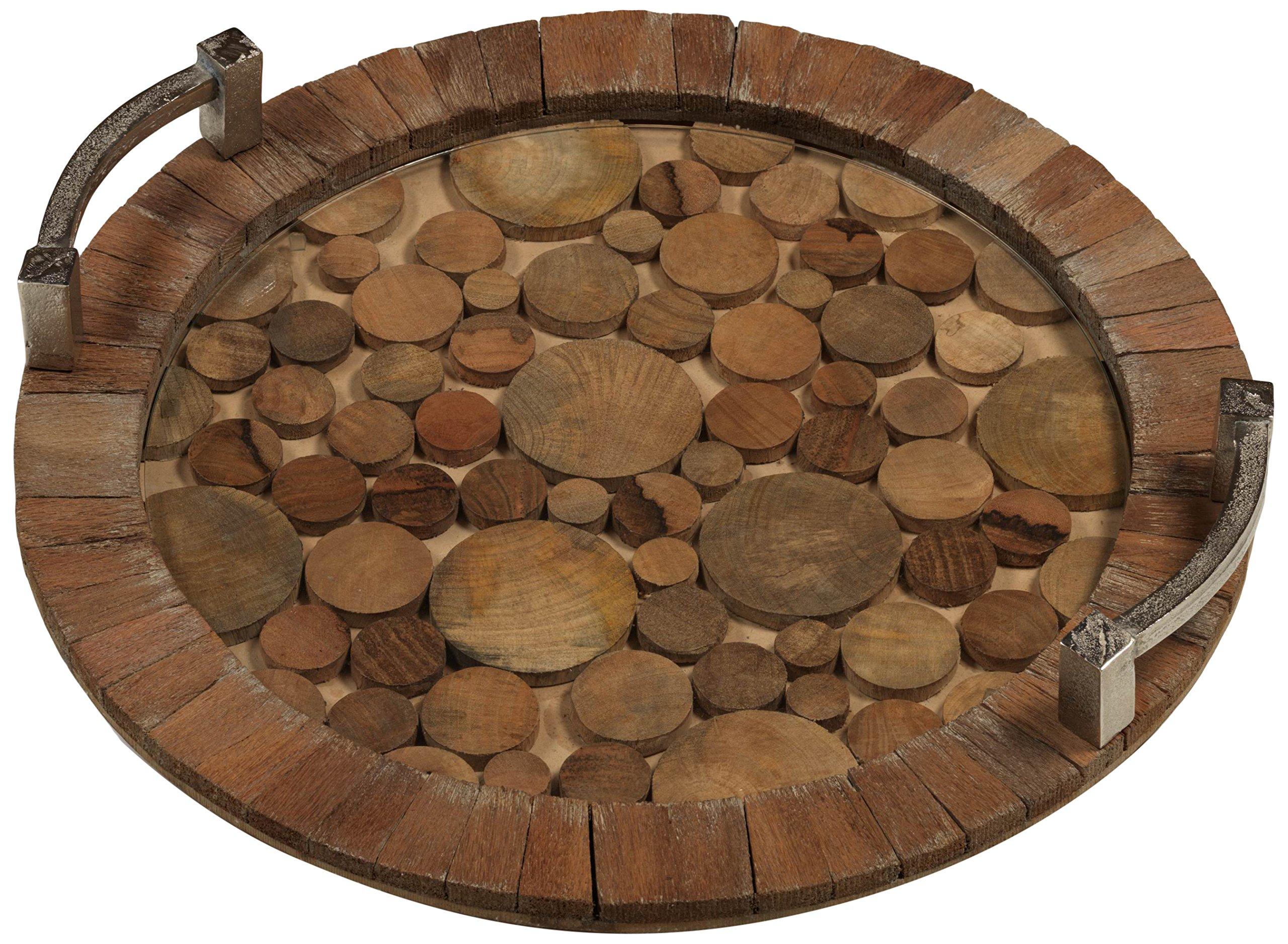 ''Hagron'' 20'' Diameter Reclaimed Wood Serving Tray, Metal Handles