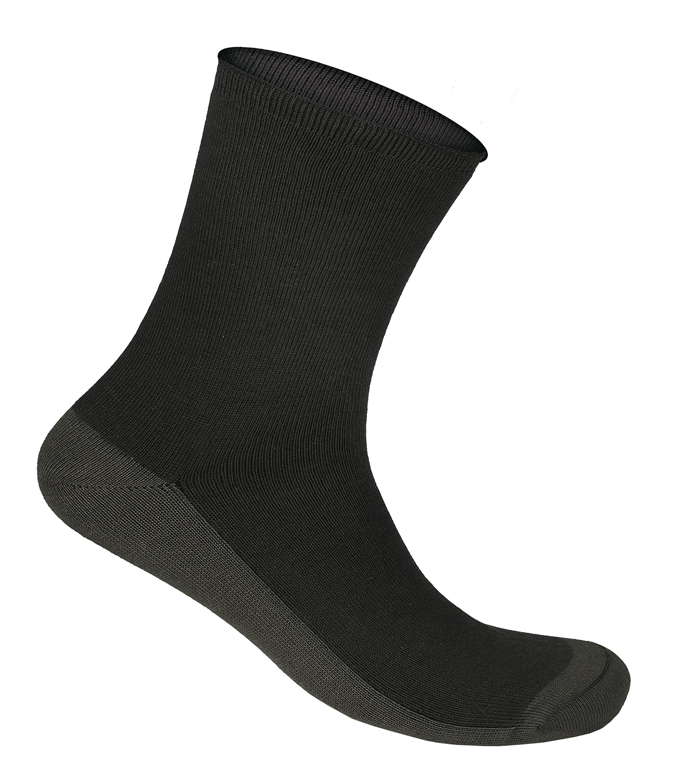 Orthofeet Casual Dress Non-Binding Non-Constrictive Circulation Seam Free Bamboo Socks Charcoal, 3 Pack Medium