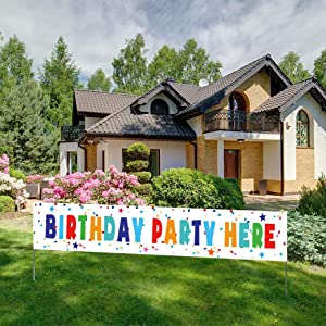 Birthday Party Here Banner, Large Birthday Party Directional Yard Sign, Outdoor Birthday Party Decorations(9.8x1.6feet)