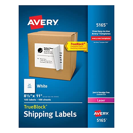 Avery Shipping Address Labels, Laser Printers, 100 Labels, Full Sheet  Labels, Permanent Adhesive, TrueBlock (5165), White