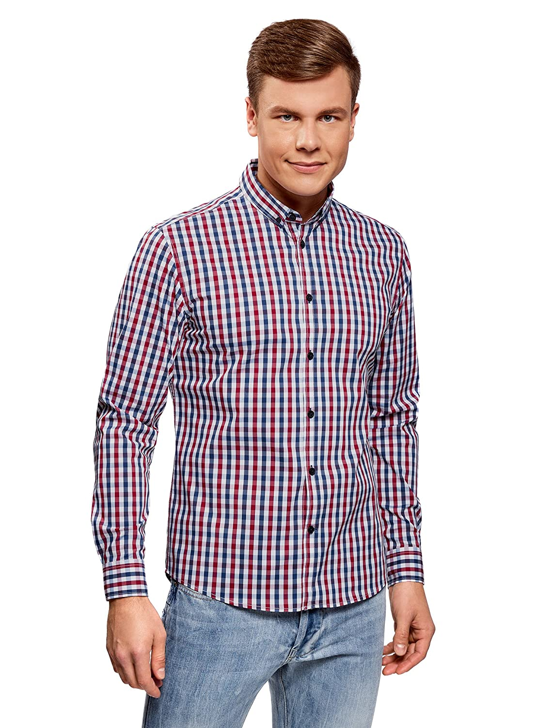 oodji Ultra Uomo Camicia Slim Fit a Quadri
