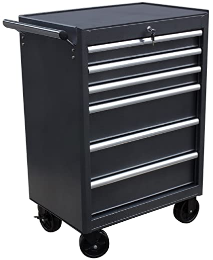 Wen 74606 26 Inch 6 Drawer Rolling Tool Cabinet Silver Black