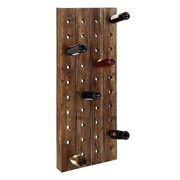 farmhouse wooden wine rack pegboard wall mount bottle storage holder display home kitchen bar decor