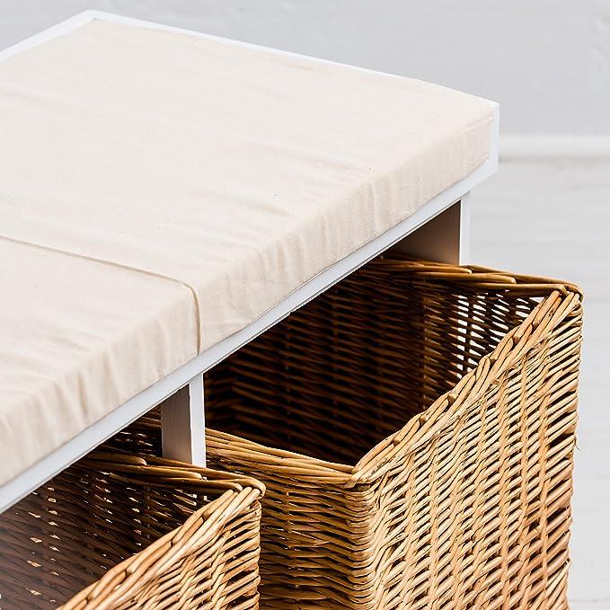 NEWPORT Blanc banc avec Paniers de rangement en osier et