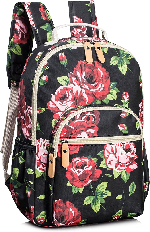 Leaper Floral School Backpack for Girls Travel Bag Bookbag Satchel Bag Black
