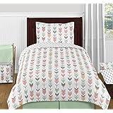 Sweet Jojo Designs 4-Piece Grey, Coral and Mint Woodland Arrow Print Girls Kids Twin Bedding Set