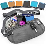 Shacke Money Belt Pouch w/ Dual Clip - RFID Passport & CC Card Sleeves Included