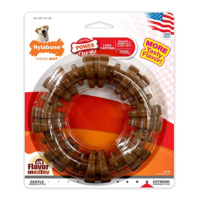Nylabone DuraChew Ring Dog Toy, Flavor Medley, Color and Package may vary-Best-Popular-Product
