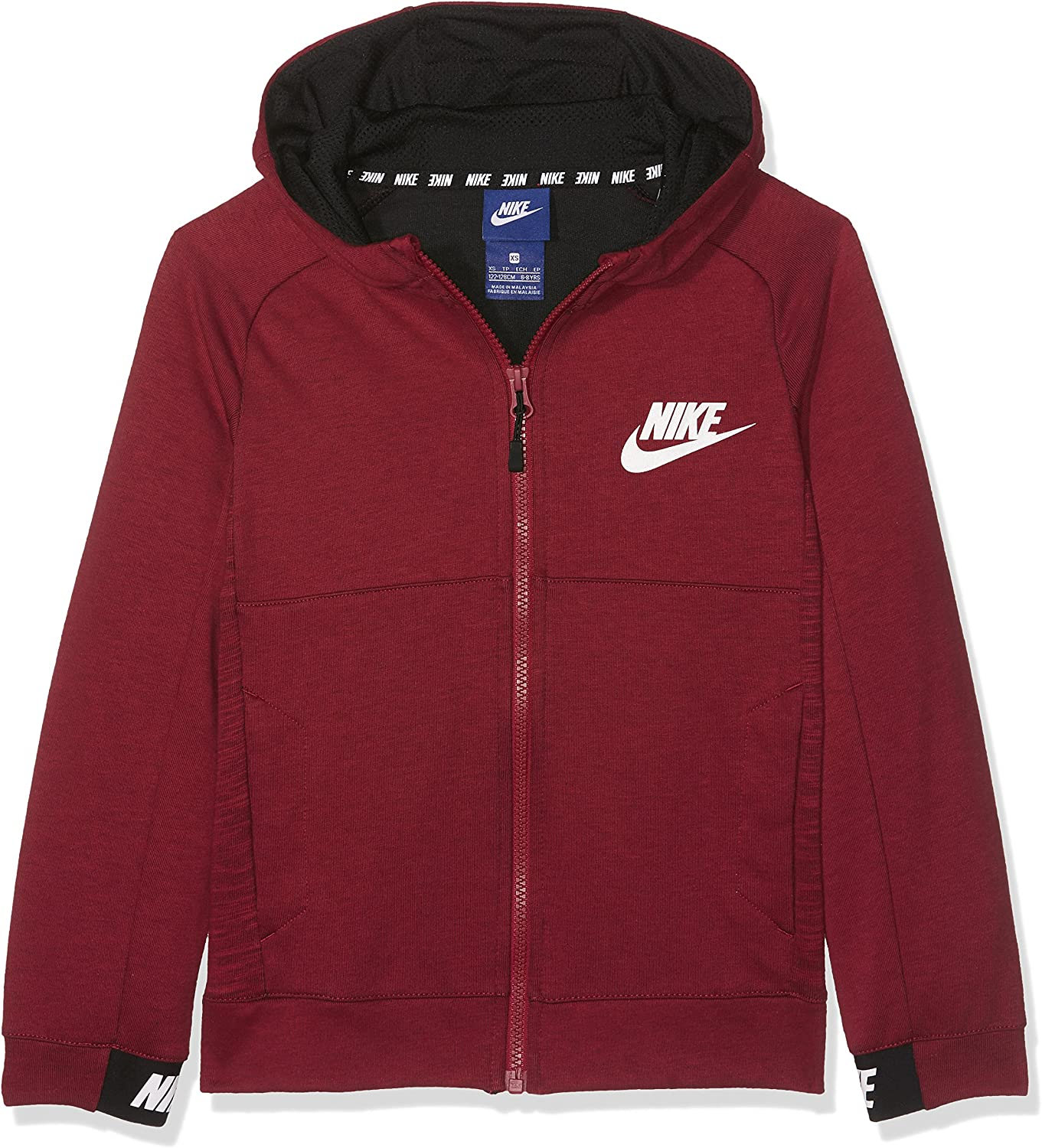 Nike Advance 15 Veste à Capuche Garçon, Tough RedBlack