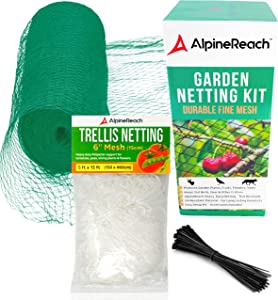 AlpineReach Garden Netting Kit 7.5 x 65 Feet Green & 5 x 15 Feet Trellis Netting for Growing High Yield Tomatoes, Peas, Vine Climbing Plants Fruits Vegetables