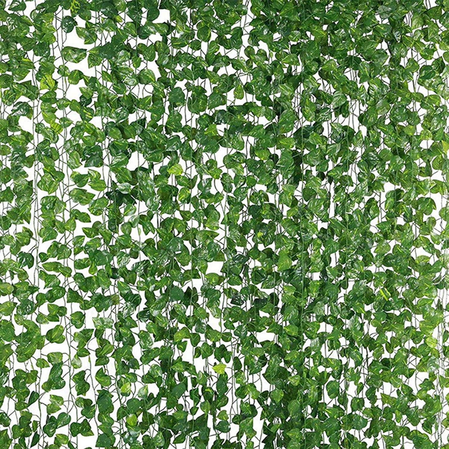 NEW RUICHENG Lvy Garland Vine Hanging Plants Artificial Plant Fake Leaf Lvy Artificial Foliage Vines Garland 12 Pack Set 25.2M 840-960 Pcs Green Leaves Plastic Plants for Garden Wedding Wall Decor