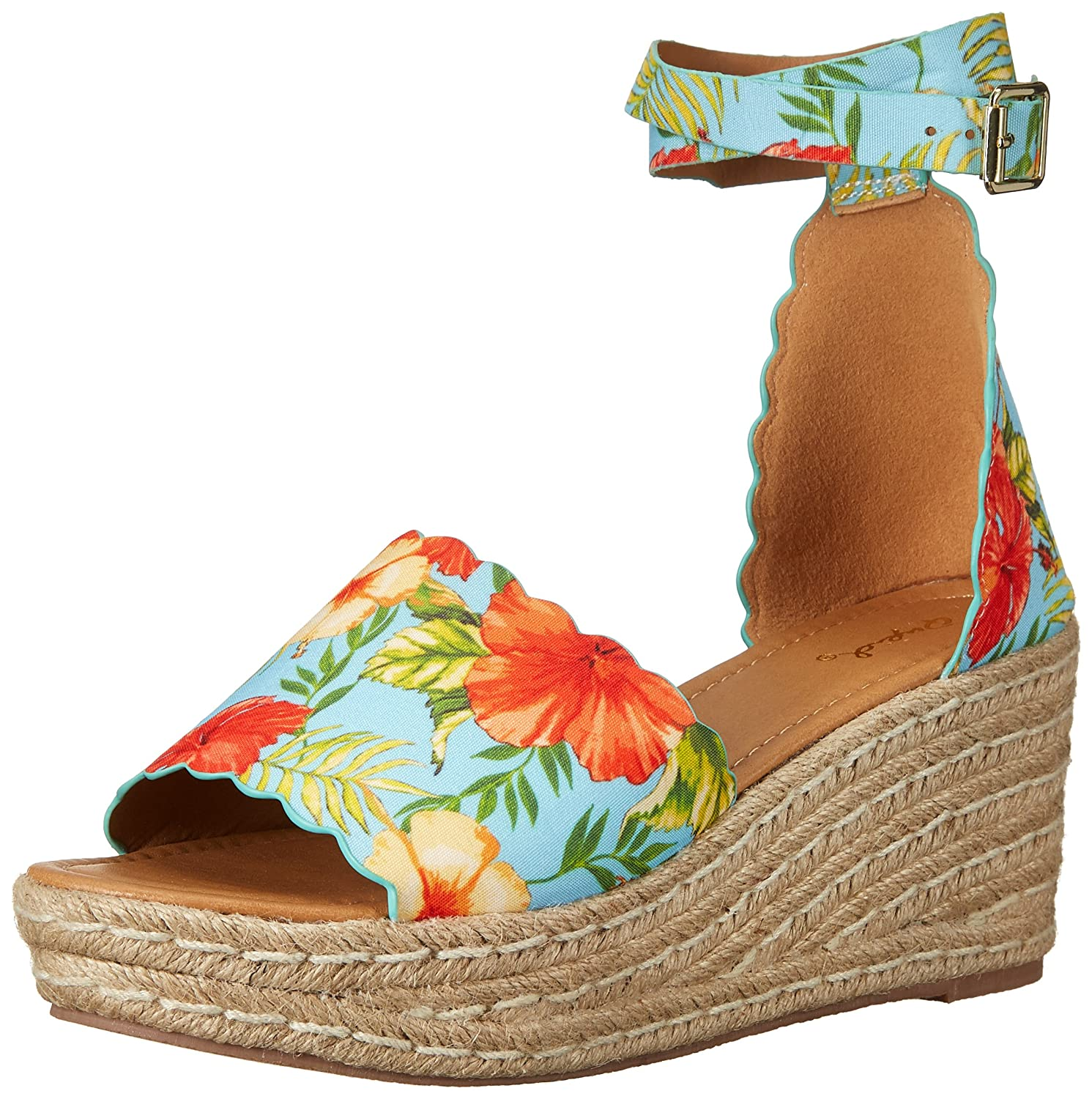Qupid Women's Espadrille Wedge Sandal B079KNW1GF 6.5 B(M) US|Blu/Orange