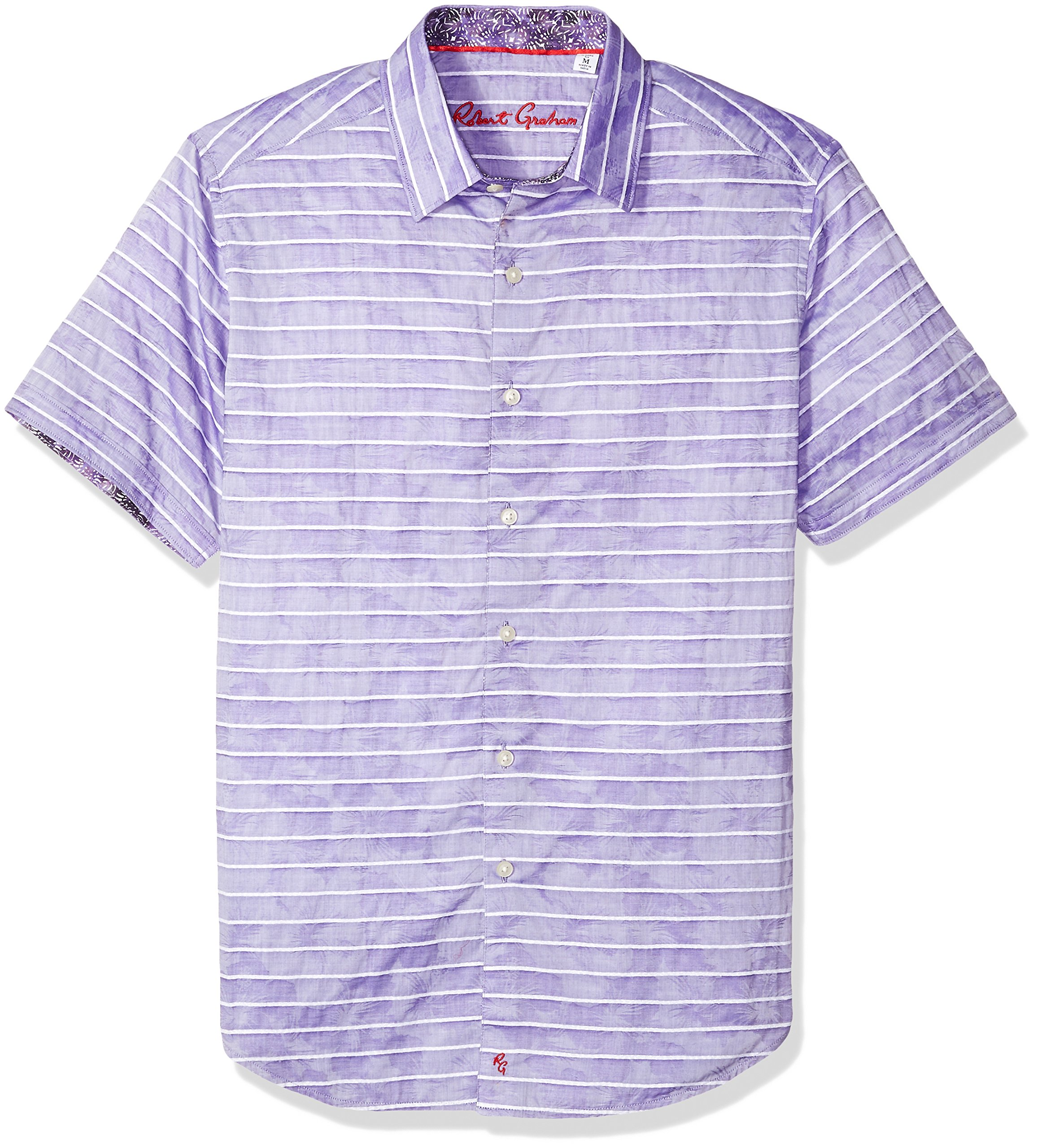 Robert Graham Men's AVENIDA Short Sleeve Shirt, Purple, Large