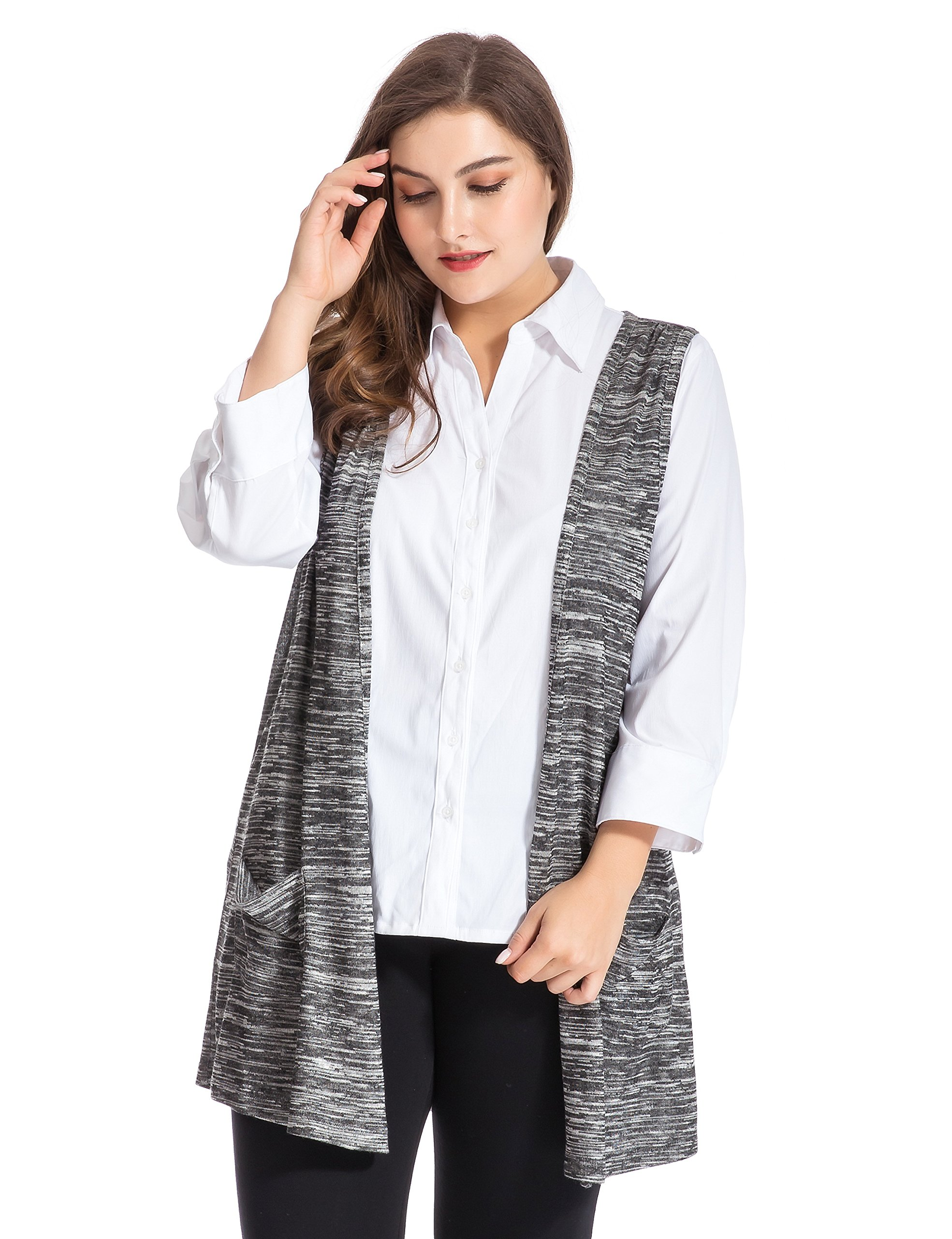 Chicwe Women's Plus Size Melange Knit Cardigan Style Vest Jacket with Pockets 16