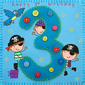 Twizler 3rd Birthday Card For Boy With Pirate And Parrot Three