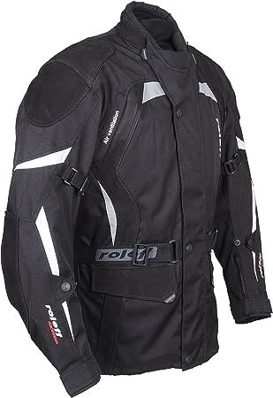 Roleff Racewear Ro594 Lange Textil Motorradjacke Mit Nubukleder Und Protektoren Schwarz Größe 4xl Auto