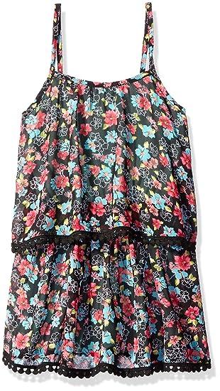 c8eed96ee73 Amazon.com  Truluv Girls  Wild Free Chiffon Floral Romper W Pompoms ...