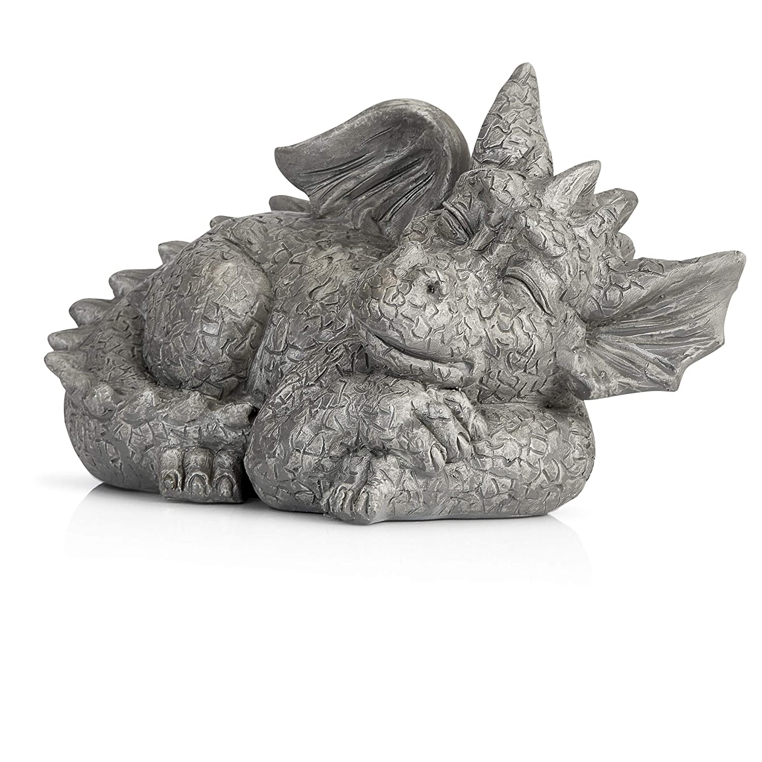 Besti Decorative Outdoor Dragon Garden Statue - Cold Cast Ceramic Statue | Lawn and Yard Decoration | Weather-Resistant Finish (Facing Right)
